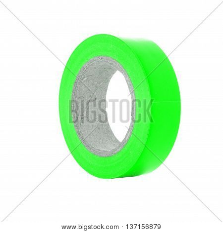 Protective sticky green insulation tape reel isolated on white background