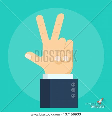 Flat design vector hand victory sign gesture icon. winner symbol for application interface, presentation and web design.