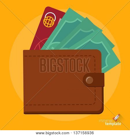 Flat design vector wallet with cash and credit cards icon for application interface, presentation and web design. Concept for payment, cash withdrawal, card transaction, online shopping and gambling.