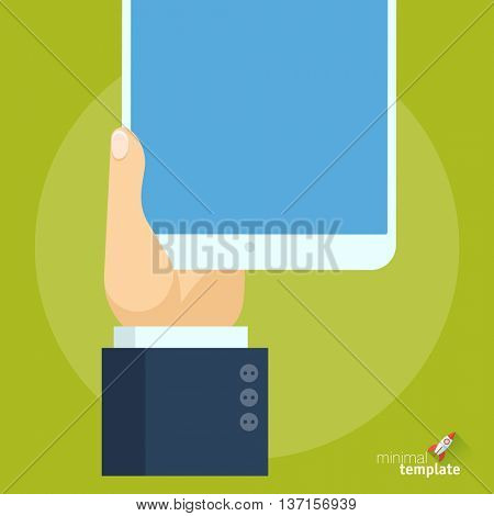 Flat design vector hand with tablet icon  for application interface, presentation and web design. The concept for mobile app, online shopping, business application, communication and navigation.