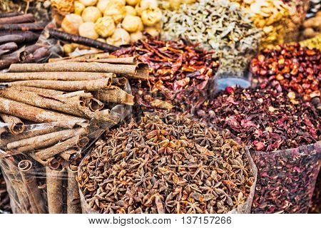 Dried Herbs Flowers Spices In The Spice Souq At Deira