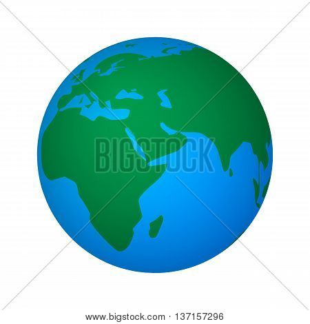 Vector illustration of abstract global world. Icon planet earth isolated on white background.