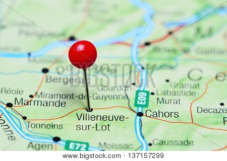 Villeneuve-sur-Lot pinned on a map of France