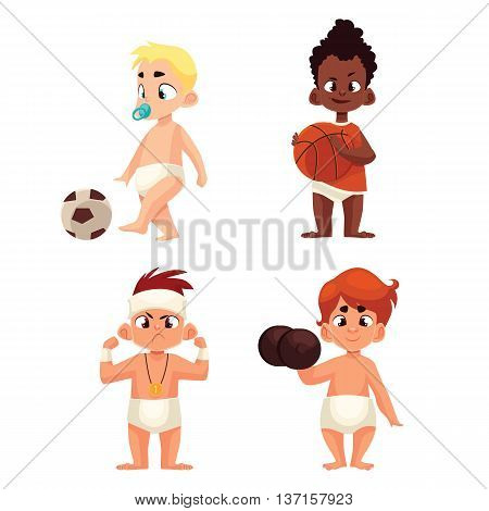 baby in diapers playing sports, illustration comic cartoon isolated on a white background, a group of kids play sports football basketball, serious kid winner and dumbbell