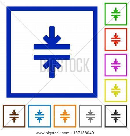 Set of color square framed Horizontal merge flat icons