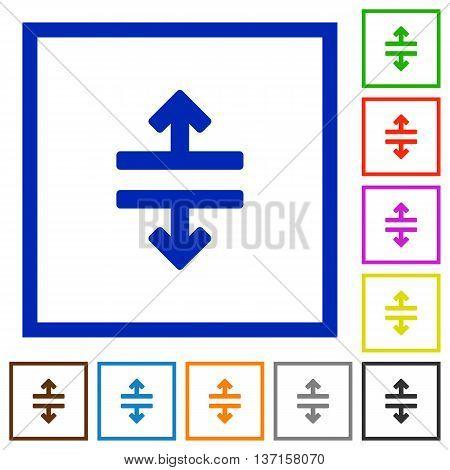 Set of color square framed Horizontal split flat icons