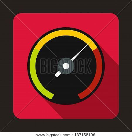Speedometer with colored stripes icon in flat style with long shadow. Auto spare parts symbol
