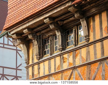 Details of historic house traditional architecture of Etretat, Normandy, France
