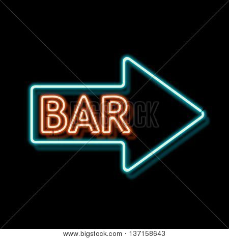 Retro neon sign with the word bar. Vintage electric arrow symbol. Burning a pointer to a black wall in a club, bar or cafe. Design element for your ad, signs, posters, banners. illustration
