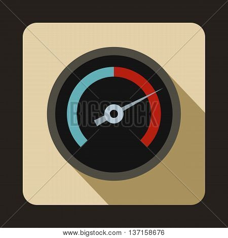 Speedometer for cars icon in flat style with long shadow. Auto spare parts symbol