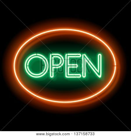 Retro neon sign that says Open. Vintage Glowing words. The inscription at the club. Violet light is incident on a black wall. illustration.