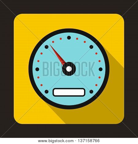 Sports speedometer icon in flat style with long shadow. Auto spare parts symbol