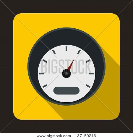 Small speedometer icon in flat style with long shadow. Auto spare parts symbol