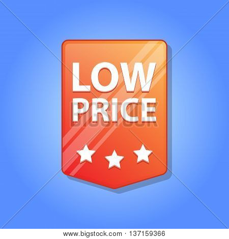 Low price Label. Vector illustration. Red color. Blue background.