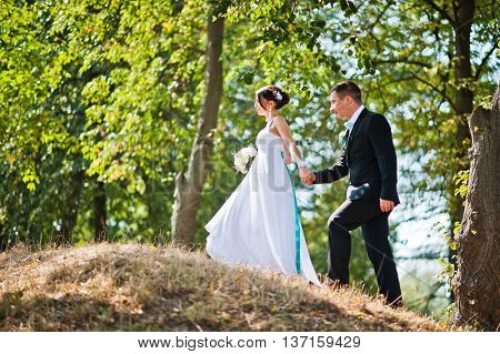 Newly Wed In Their Wedding Day At Park