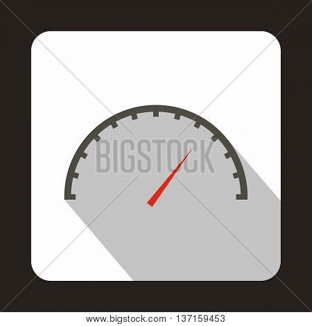 Factory speedometer icon in flat style with long shadow. Auto spare parts symbol