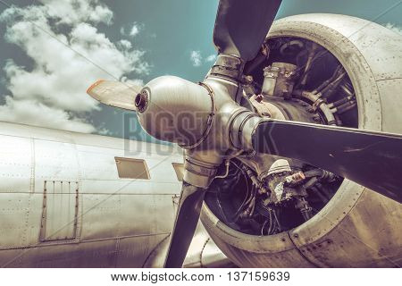 Old aircraft engine and propeller close up