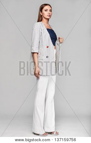 Portrait Of Fashion Stylish Swag Young Woman In Jacket