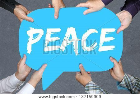 Group of people holding with hands the word peace war peaceful concept