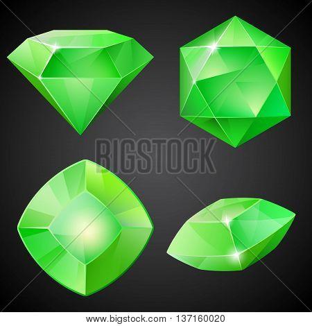 Set of cartoon green gemstones. Vector illustration.