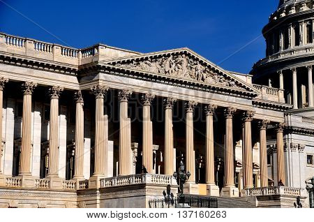Washington DC - April 10 2014: Two security guards stand on the balcony of the House of Representatives chamber of the United States Capitol