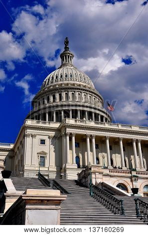 Washington DC - April 9 2014: West front staircase and great dome of the United States Capitol *