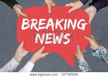 Group Of People Holding Breaking News Media Announcement Announce Information