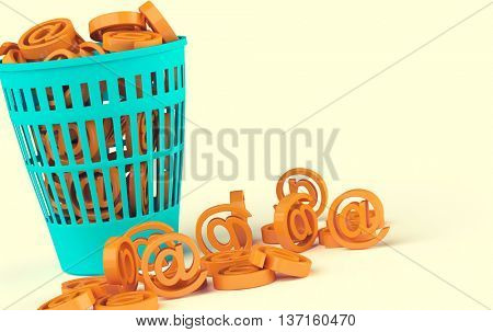 Spam basket. Toned image, 3D illustration
