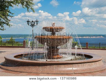 Beautiful fountain of in the park on the waterfront in Ulyanovsk (Simbirsk)