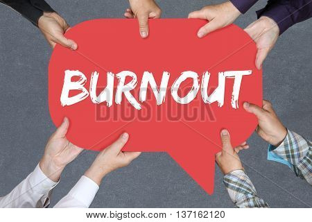 Group of people holding with hands the word burnout. stressed at work business concept