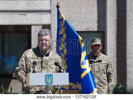 President Of Ukraine Petro Poroshenko Is Speaking At The Ceremonial Meetin
