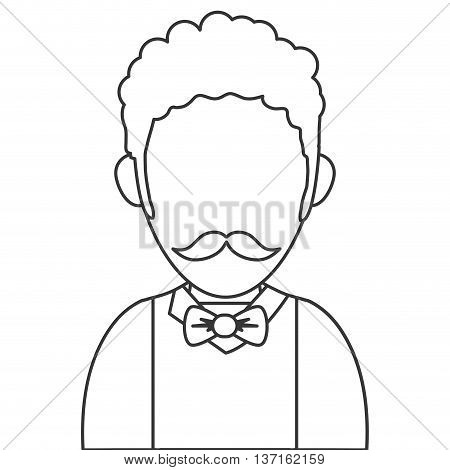 simple line design man with curly hair and mustache avatar icon avatar icon vector illustration
