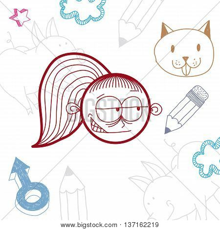Vector hand drawn cartoon tricky girl with modern haircut. Education theme graphic design elements isolated. Social conversation idea drawing.