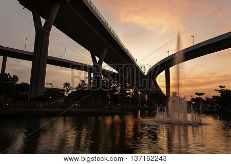Bhumibol Bridge At Sunset, Bangkok