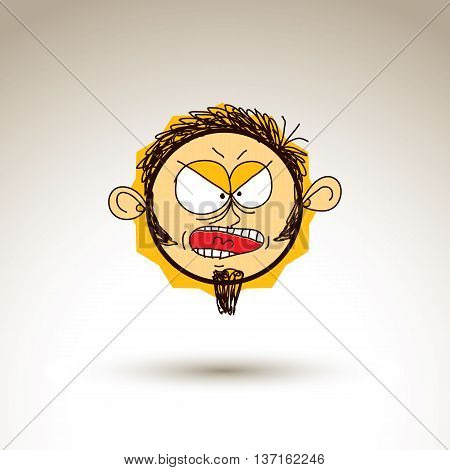 Vector Colorful Hand Drawn Illustration Of Angry Cartoon Shouting Boy Isolated On White Background,