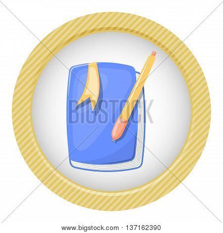 Cute notebook colorful icon. Vector illustration in cartoon style