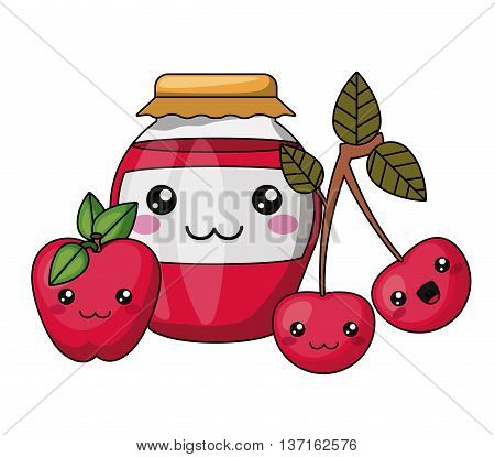 jam bottle and fruits kawaii style   isolated icon design, vector illustration  graphic