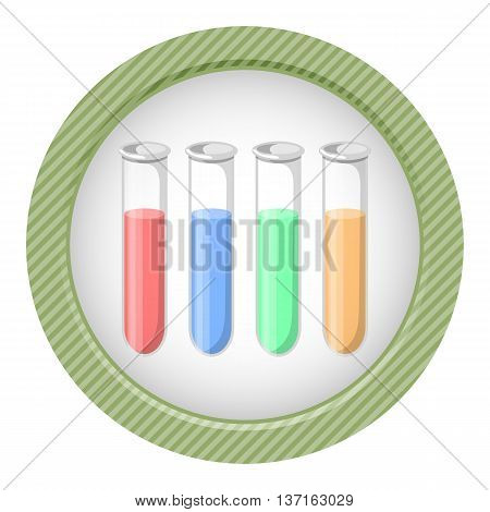 Test tubes colorful icon. Vector illustration in cartoon style