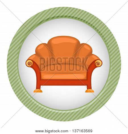 Sofa colorful icon. Vector illustration in cartoon style