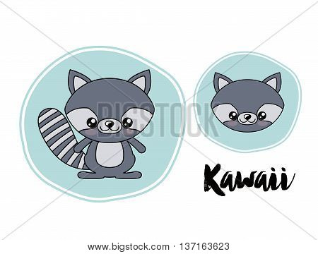 raccoon character kawaii style isolated icon design, vector illustration  graphic