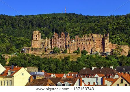 Famous castle ruins by day, Heidelberg, Germany
