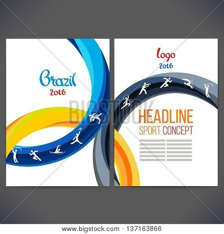 3355 Vector template design strips of colored rings and waves.Concept sport brochure Web sitespageleaflet logo Brazil 2016 and text separately. Sport concept banners with symbols of sports competitions