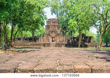 Prasat Mueang Sing Historical Park Remains buildings of the ancient Khmer style temple attraction famous cultural in Sai Yok District Kanchanaburi Province Thailand