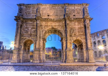 Arch of Constantine by night in Rome, Italy, HDR