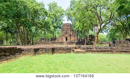 Prasat Mueang Sing Historical Park Remains buildings of the ancient Khmer style temple attraction famous cultural in Sai Yok District Kanchanaburi Province Thailand 16:9 wide screen