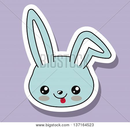 rabbit character kawaii style isolated icon design, vector illustration  graphic