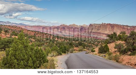 Panorama of the scenic drive in Capitol Reef National Park Utah United States