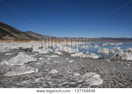 Salt concentration at Mono Lake in California USA