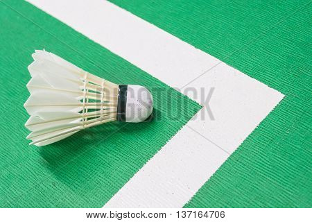 White badminton shuttlecock on a green court with a white line.