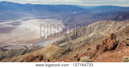 Panorama of badwater from Dante's view in Death Valley National Park USA
